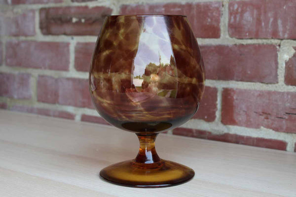 Hand Blown Glass Fishbowl Vase with Tortoiseshell Pattern