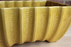 Cookson Pottery (Ohio, USA) Shiny Gold Glazed Rectangular Planter with Curved, Ribbed Sides