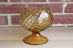 Empoli Art Glass (Italy) Hand Blown Diamond Optic Amber Glass Fishbowl Vase