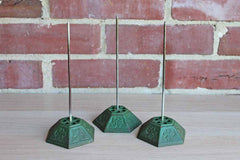 Green Cast Iron Bill and Letter Spikes, Set of 3