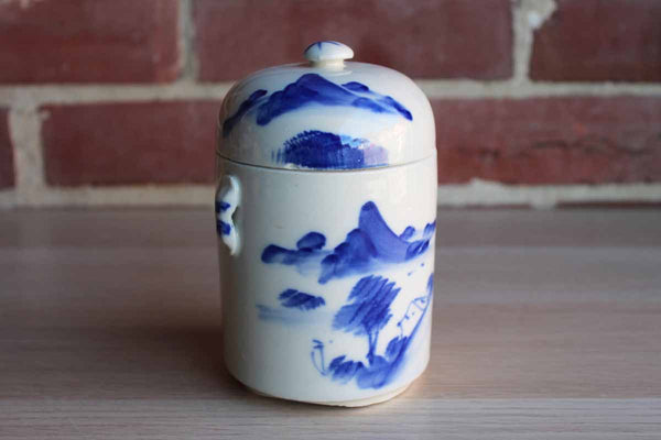 Small Lidded Blue and White Storage Container Decorated with Landscape Scenes