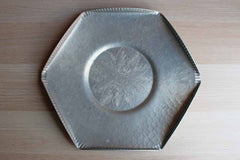 Hammered Aluminum Hexagonal Snack Tray with Flower Detailing in the Center