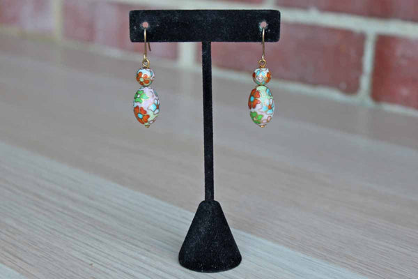 Cloisonne Bead Floral Dangle Pierced Earrings in Shades of Pink, Green, Blue and Orange