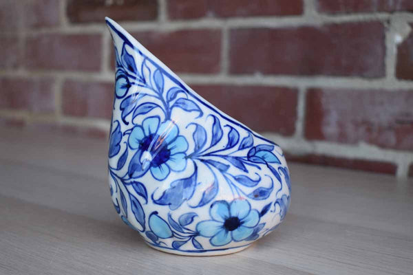 Ceramic Pouring Bowl Decorated with Blue Flowers