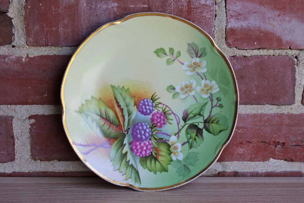 Porcelain Plate with Colorful Images of Fruits and Flowers