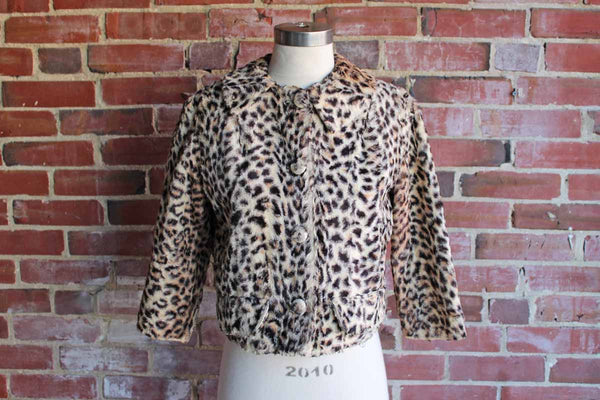 Glentex Faux Fur Cheetah Print Cropped Jacket, Size Small