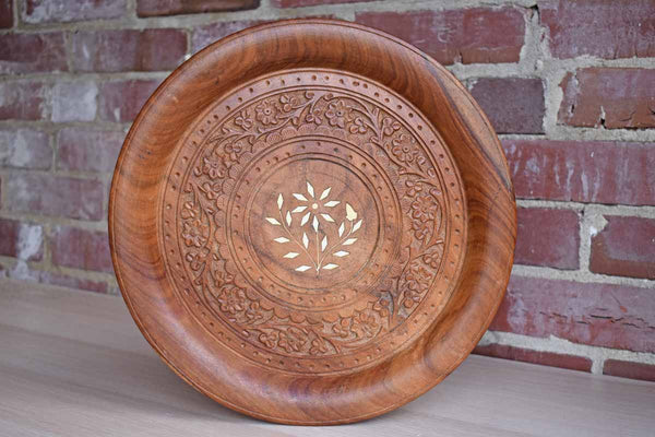 Archana Handcrafts (India) Round Wood Tray with Hand Carved Flowers