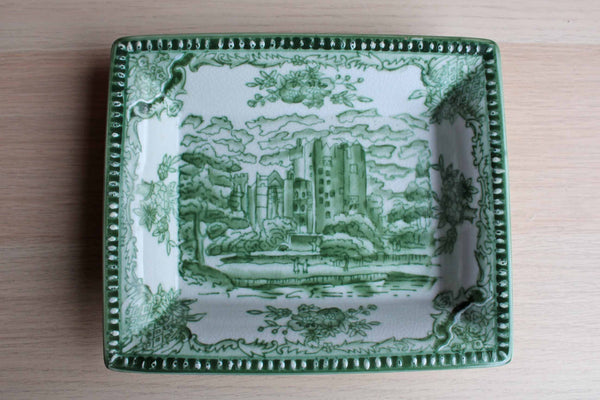 Heavy Stoneware Decorative Tray with Castle Scene