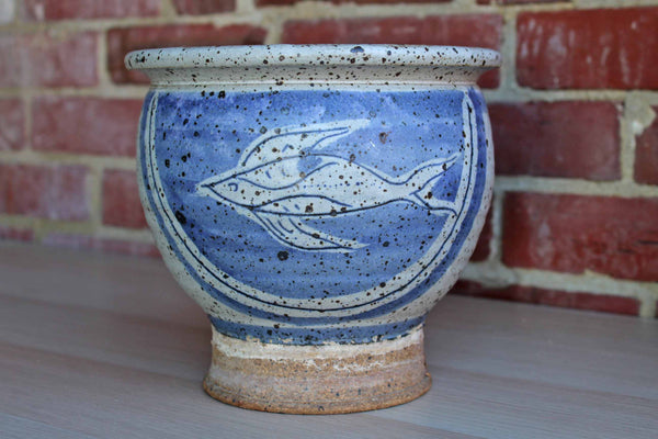 Handmade Blue and Gray Stoneware Planter Decorated with a Fish