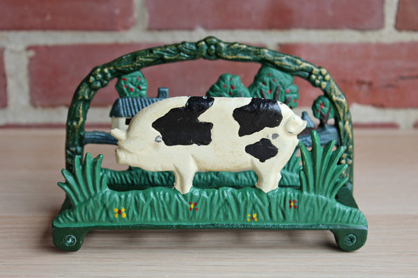 Cast Iron Pig and Farm Scene Book or Napkin Holder