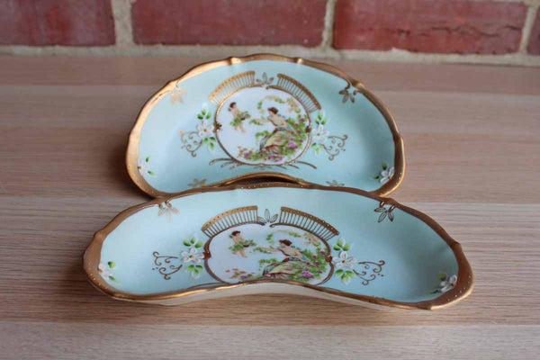 Arco (Japan) Fine Quality Dallas Blue and Gold Porcelain Dishes, A Pair