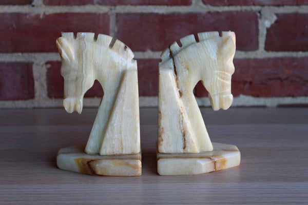 Carved Tan and Cream Alabaster Horsehead Bookends