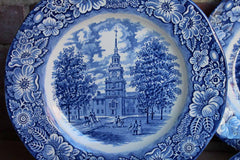 Staffordshire Ironstone (England) Liberty Blue Independence Hall Dinner Plates, Set of 8