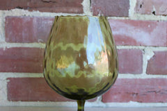 Empoli (Italy) Hand Blown Green Optic Glass Brandy Snifter/Fishbowl Vase