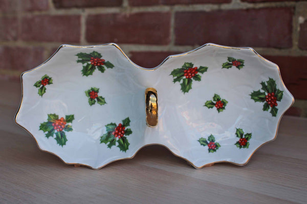 Lefton China (Japan) Divided Candy and Nut Dish Decorated with Boughs of Holly