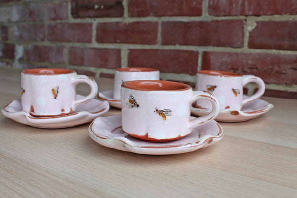 Phyllis Handal Pottery (USA) Ceramic Espresso Cups Decorated with Bees, Set of 4