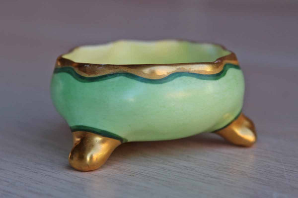 Small Green and Gold Footed Bowl
