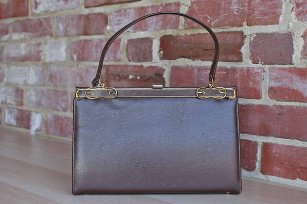 Brown Leather Hard Frame Handbag with Gold Tone Lasso Detail