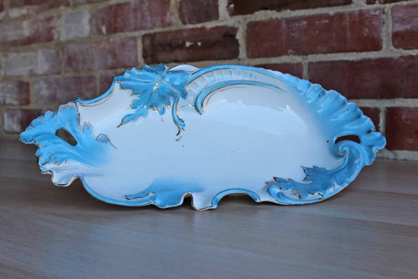 Delicate Porcelain Bowl with Blue Gilded Floral Border