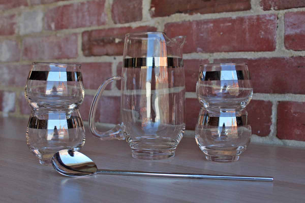 Libbey Glass (Ohio, USA) Pitcher, Stir Spoon and Four Roly Poly Glasses Cocktail Set