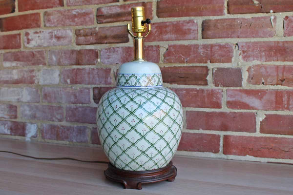 Porcelain Ginger Jar Lamp with Green Trellis and Pink Flower Design