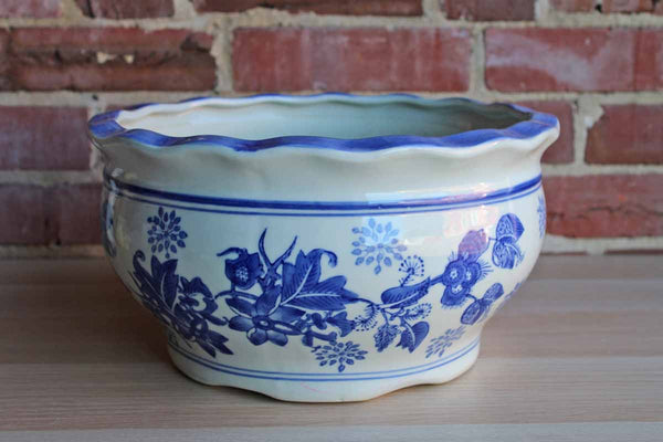 Blue and White Large Ceramic Cachepot with Repeating Floral Detail