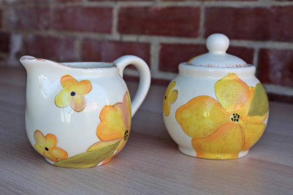 Laurie Gates Design (California, USA) Sugar and Cream Bowls Decorated with Yellow Flowers