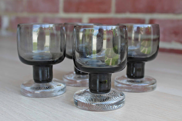 Gray and Clear Pedestal Cocktail Glasses, 4 Pieces