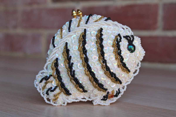 K. Gimbel (Made in Hong Kong) Beaded and Sequined Fish-Shaped Coin Purse