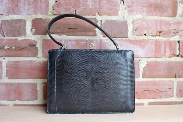 Coblentz (Made in France) Black Genuine Lizard Frame Handbag