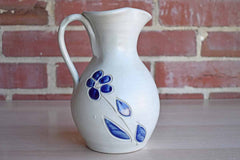 Williamsburg Pottery (Virginia, USA) Salt Glazed Stoneware Drink Pitcher with Blue Flower