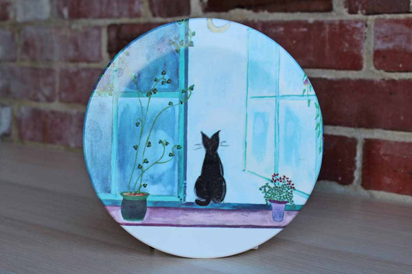 Mebel (Italy) Melamine Trivet with Black Cat Sitting on the Windowsill