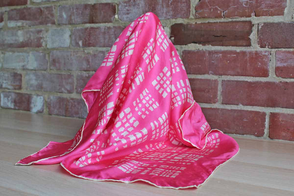 A Burmel Original 100% Silk Pink and White Scarf