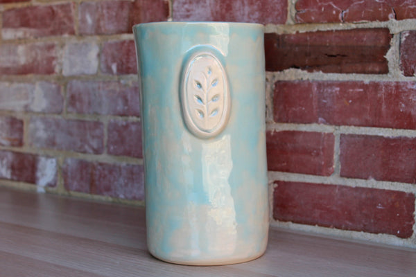 Lostine (Pennsylvania, USA) Tall Seafoam Green Ceramic Vase or Storage Vessel
