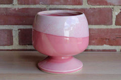 Round Cotton Candy Pink Pedestal Planter with Lighter Pink Drip Glaze
