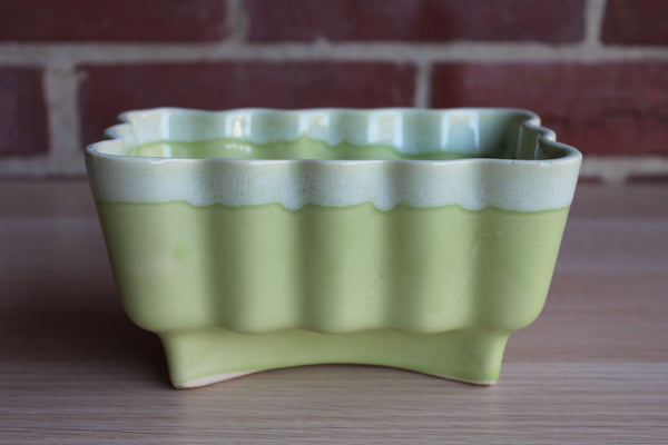 Cookson Pottery (Ohio, USA) Celadon Green Drip Glaze Ribbed Planter