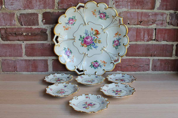 Graf Von Henneberg (Germany) Floral Gold Trimmed Porcelain Dessert Tray with Six Little Plates from Eschenbach (Bavaria)