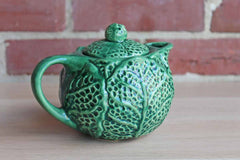 Majolica Green Cabbage Teapot with Lid