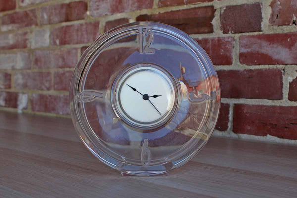 Stylish Clear Glass Clock with Frosted Numbers