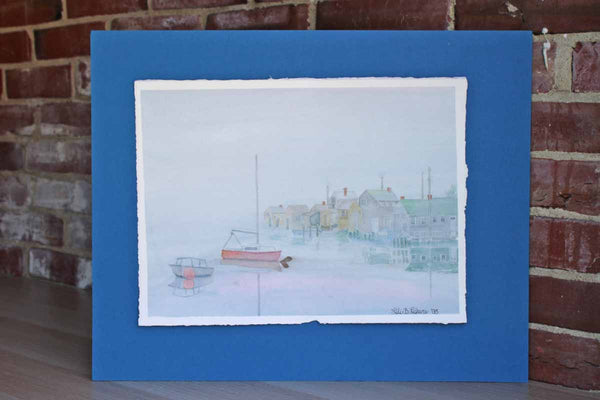 1995 Original Watercolor of a Fishing Village Signed by Lili B. Lefeure