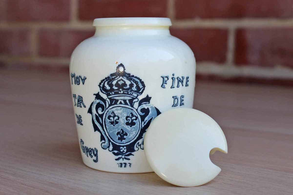 Milk Glass Lidded French Grey Poupon Mustard Jar