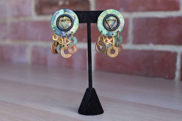 Bold and Artsy Dangle Pierced Earrings with Verdigris Copper Hoops and Triange Accent