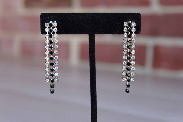 Black and Silver Rhinestone Dangling Pierced Earrings