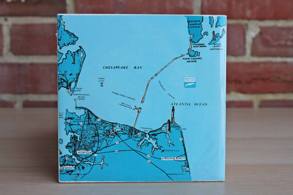 H & R Johnson (England) Ceramic Tile Decorated with Map of Virginia and Chesapeake Bay