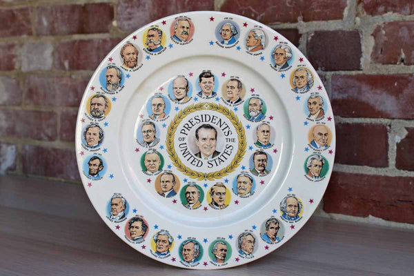 Ceramic President's of the United States Decorative Collector's Plate Featuring Richard Nixon in Center