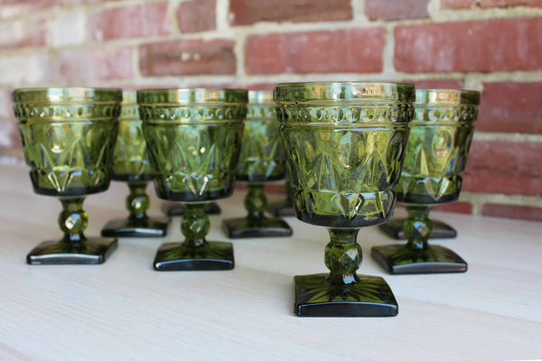 Colony Glass (Connecticut, USA) Park Lane Green Water Goblets, 9 Pieces