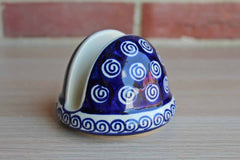 Boleslawiec Pottery (Poland) Stoneware Cobalt Blue and Cream Swirls Napkin or Letter Holder