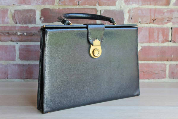 Black Patent Leather Doctor-Style Frame Handbag Made in Jana