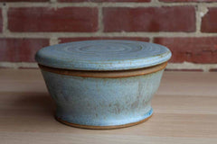 Blue Lidded Earthenware Storage Container