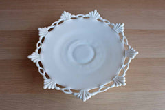 Westmoreland Glass Company (Pennsylvania, USA) Footed Ring and Petal Milk Glass Plate